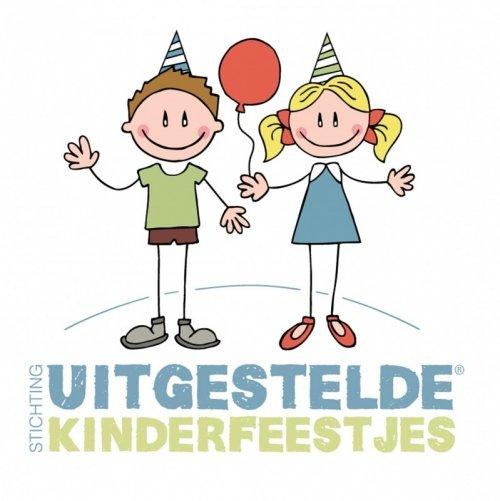 logo stichting uitgestelde kinderfeestjes, getekende jongen en meisje met ballon en feestmuts