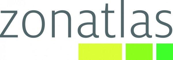 het woord 'zonatlas' in grijze letters met 3 felgroene rechthoeken eronder in verschillende tinten